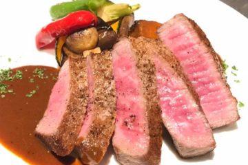 黒毛和牛ランプ肉のステーキ赤ワインソース