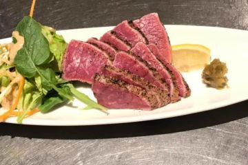 鹿児島県産の黒毛和牛のランプ肉の炙り